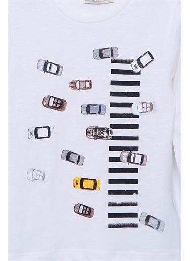 Silversun Kids Baskılı Uzun Kollu Örme Tişört Bk-213243 Beyaz